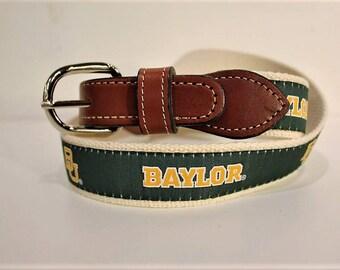 University of Baylor  Men's  Web Leather Belt