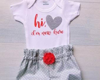 Hi Im New Here Outfit Baby Girl Outfit Gifts for Baby Girls Clothing Baby Bloomers Bloomer Set Bloomer and Headband Set Baby Girl Onesie