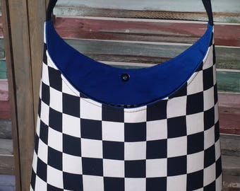 Black and White Check Bucket Racing Purse, Checked Shoulder Purse