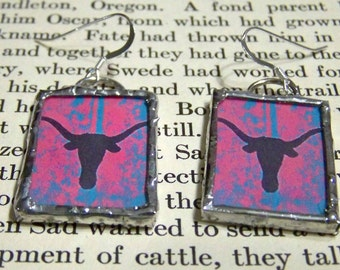Longhorn Silhouette Soldered Glass Earrings