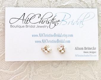 Gold rhinestone stud bridal earrings, crystal stud earrings, Rhinestone stud earrings,  rhinestone post earrings, gold studs, bridal earring