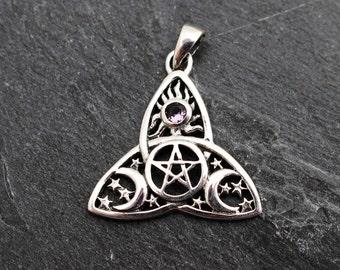 Sterling Silver Celtic Triquetra Celestrial Pentagram Pendant