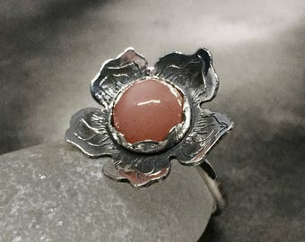 Peach pink moonstone ring, cherry blossom jewelry, cats eye stone ring, flower shaped ring, sterling silver artisan jewelry, statement ring