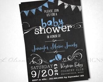 Chalkboard Baby Shower Invite - Blue - DIY Printable