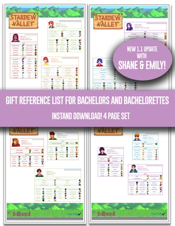 Stardew valley gift lists bachelors and bachelorettes stardew valley gift lists bachelors and bachelorettes items tracking list reference game check list item list negle Images