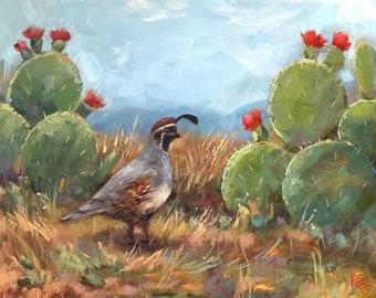 "Quails, southwest, original, art, 16""x20"", bird, birds, decorative, oil, painting, cactus, flower"