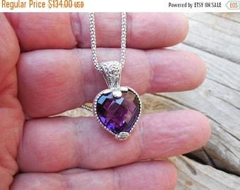 ON SALE Beautiful heart shape amethyst necklace handmade in sterling silver