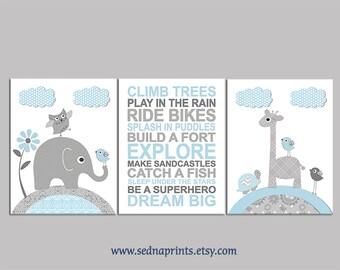 Blue and grey Nursery Art Print Set, Baby boy Room Decor, light grey, dark grey, blue, elephant, giraffe, birds, turtle, flower - UNFRAMED