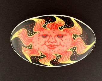 Smiling Sun Face Pin - CELESTE - smiling sun face pin - sun brooch - pagan jewelry - hand painted - handmade gift for her
