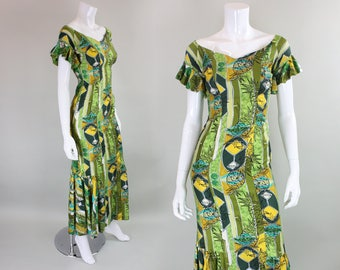 1960's Hawaiian Maxi Dress with Flouce Hem
