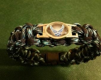 U.S. Air Force Paracord Bracelet with Air Force Charm, Lightning Paracord Bracelet