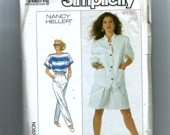 Simplicity Misses' Pull-On Pants and Shorts, Unlined Jacket and Top for Knits Only Pattern 8607