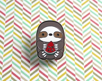 Sloth Pin, Watermelon Sloth Enamel Pin, Sloth Badge, Sloth Lovers, Lapel Pin Badge, Sloth Gift, Kawaii Pin, Sloth Jewelry, Sloth Brooch