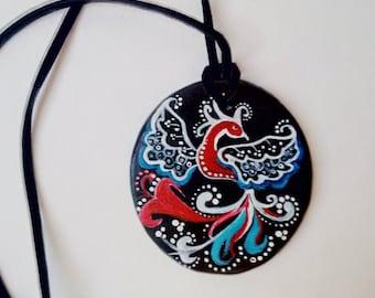 Self-hardening clay pendant Handmade art Stylish decoration for a gentle woman.
