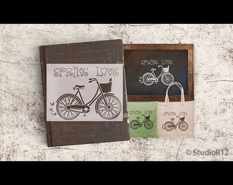 Spring Love Vintage Bicycle Art Stencil - Select Size - STCL1057 - by StudioR12