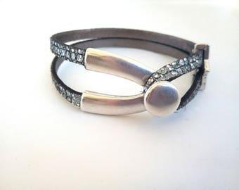Glittery Silver Clasp leather bracelet fork