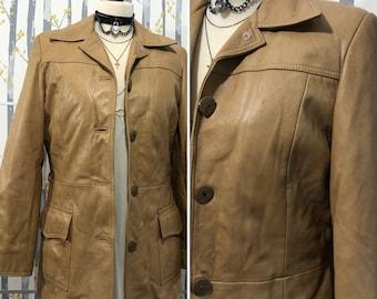 Vintage Brown Leather Blazer/ Jacket Size M