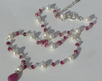 Tourmaline Necklace with Pearl, Ruby Pearl Necklace, Pink Tourmaline Necklace, Tourmaline Ruby Necklace, October Birthstone