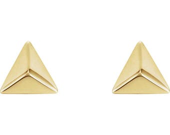 SALE! Any Color 14K Gold Pyramid Stud Earrings