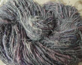 Lavender Mist handspun bulky art yarn with eyelash, silk and sparkle, 100 yards