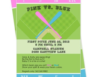 Baby Gender Reveal Party Baseball Ticket Invitation Printable - Baseball Gender Reveal Party - Gender Reveal Baseball Shower