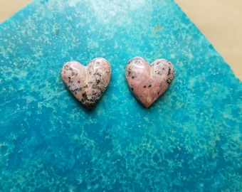 Pink Rhodonite Heart Cabochon Pair/ backed