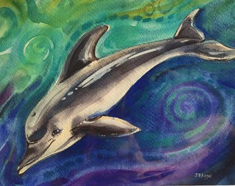 Dolphin Painting, Dolphin Watercolor Painting, Watercolor on Paper Original Painting, Matted 11 x 14, Animal Art, Porpoise, Cetacean, Sea