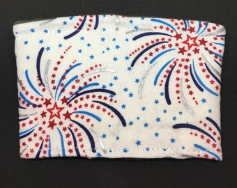 Reusable Fabric Coffee Sleeve / Reusable Coffee Cozy / Cup Sleeve / Eco Friendly Coffee Sleeve / Red, Silver and Blue Firework Print