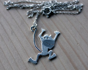 Monkey Necklace-Monkey Jewelry-Animal Necklace-Sterling Monkey Necklace-Monkey Pendant-Jungle Jewelry-Cartoon Jewelry-Valentines Day Gift