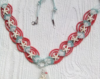 Coral pink micro macrame necklace with sea glass.