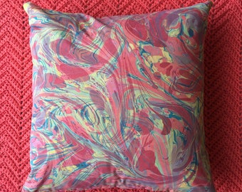 Hand Marbled Pillow Cover