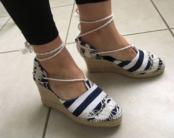 Mariniere espadrilles with antique lace size choice