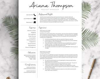 Creative Resume Template for Word and Pages | Modern 1-3 Page Resume Template, Icon Set, Cover Letter | Instant Download Resume Template