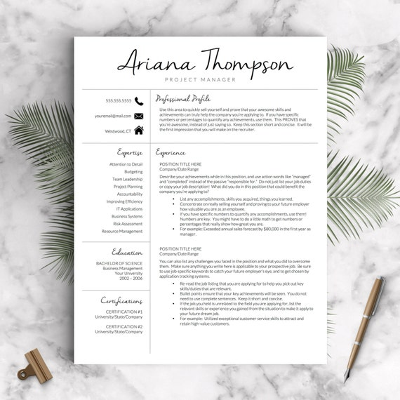 Creative Resume Template for Word and Pages | Modern 1-3 Page Resume Template Icon Set Cover Letter | Instant Download Resume Template