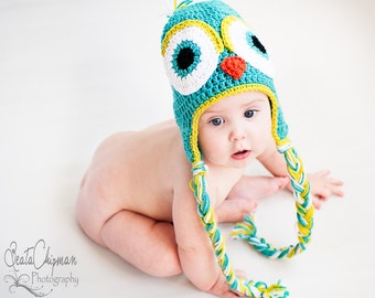 Crochet Earflap Owl Hat Photo Prop 6-12 Months Teal Green MADE TO ORDER