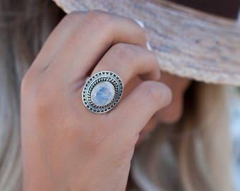 Moonstone Ring ~ June Birthstone ~ Sterling Silver 925 ~ Gemstone ~ Jewelry ~ Statement ~ Boho ~ Handmade ~ Bohemian ~Hippie ~Detailed MR029