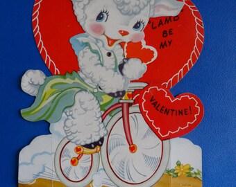 Vintage Valentine Little Lamb on a bike Sweet 1950's  or Earlier Retro Large