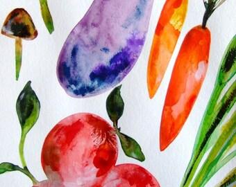 Vegetables Watercolor Art Nature Kitchen Art Kitchen Decor Vegetables Orange Red Purple Original Watercolor Vegetables Wall Art Vegetables