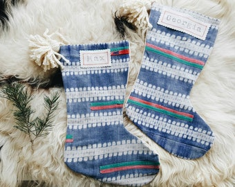 Vintage Red and Green Hmong Boho Christmas Stockings - Modern Christmas Décor - Bohemian Stocking