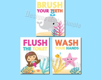 Mermaid, whale, and Starfish Bathroom Signs - Set of 3- Wash Hands, Brush Teeth, Flush Toilet -  Instant Download