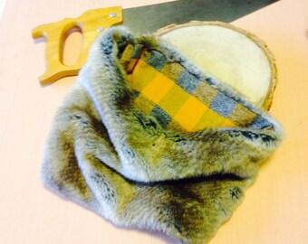 Golden Tan Faux Fur Cowl, Super  Soft Fur Neck Warmer Reverses to Gold and Grey Plaid Flannel, Butterscotch Faux Fur Scarf, Reversible Cowl