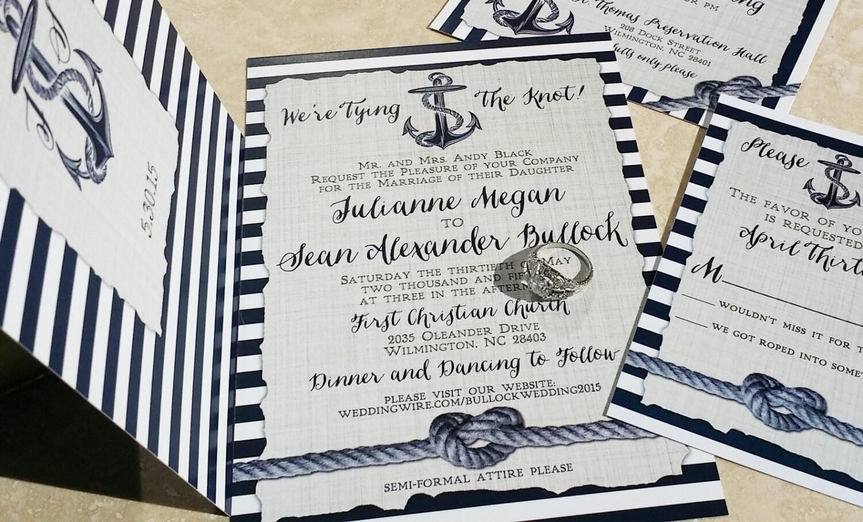 Nautical Wedding Invitations. Heart knot and anchor wedding