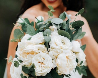 Ivory and Eucalyptus Bridal Bouquet- Silk flowers