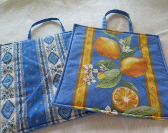 Pot holder, set of 2, oven mitt,hot pad,unique gift from Provence, French cotton fabric