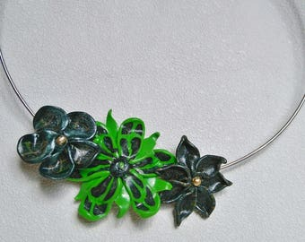 Fimo flower Choker necklace