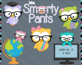 Mrs Smarty Pants, Owl, Teacher, School, Learning - Instant Download - Exclusive Commercial Use Digital Clipart Elements Set