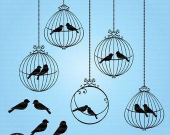 Love Birds in Ornamental Birdcages - Black - Digital Clip Art  - PNG and EPS
