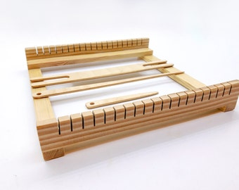 """9x9"""" Weaving loom kit for beginners, hand weaving loom, tabletop small weaving loom, Frame loom weaving set"""