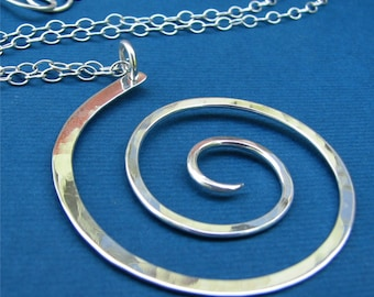 Large Spiral: Sterling Silver Statement Modern Swirl Pendant Necklace