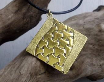 "Japanese traditional geometric pattern ""MARUBISYAMON"", Brass Pendant Necklace, Brass Engraving"